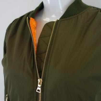 Army Green Long Sleeve Padded Women..