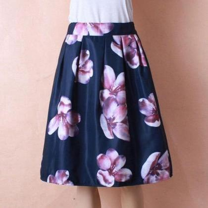 High Waist Pleated Floral Print Wom..