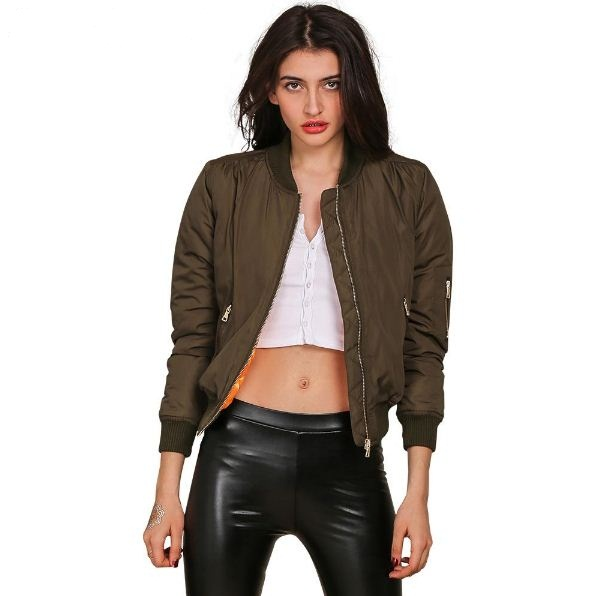 Army Green Long Sleeve Padded Women Jackets