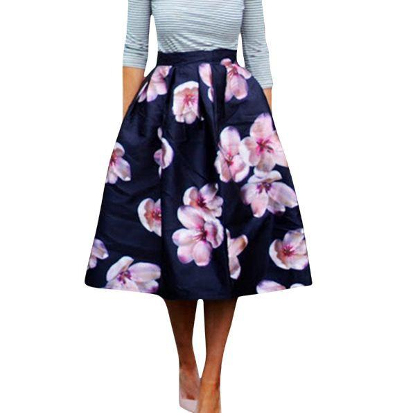 High Waist Pleated Floral Print Women Skater Skirt