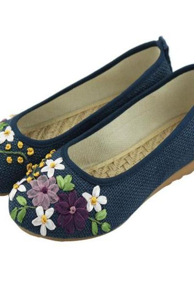 Round Toe Embroidery Flower Women Canvas Flat Shoes